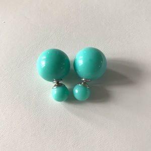 Tiffany Blue Double Pearl Stud Earrings